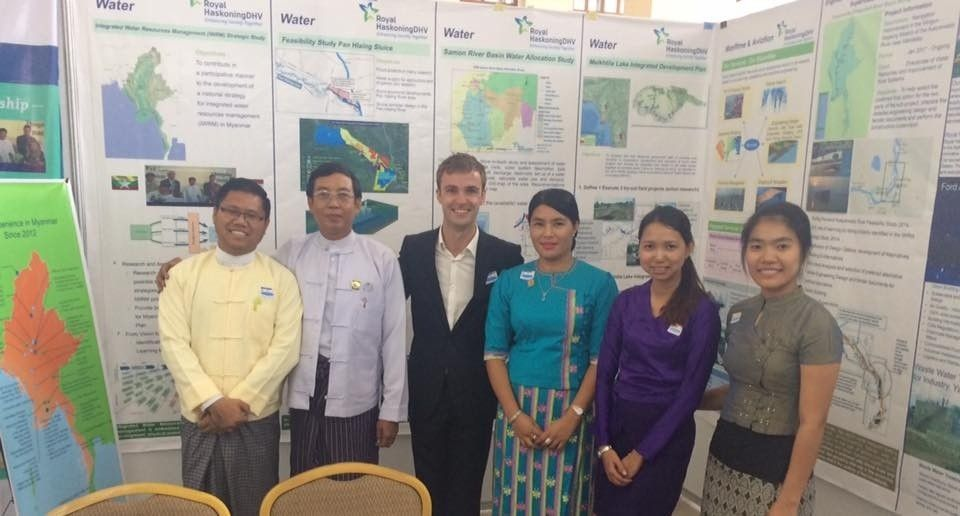 Thet Oo Mon on World Water Day with the colleagues from Royal Haskonging DHV and Rector and Professor from Myanmar Maritime University