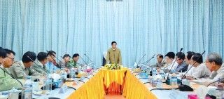 Vice President U Henry Van Thio delivers a speech at the fourth meeting of the National-level Water Resource Committee in Nay Pyi Taw on 6 November 2017